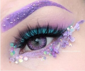 eye makeup, makeup, and purple eyes image