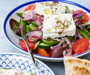feta cheese, greek food, and greek salad image