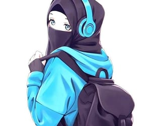 allah, muslim girl, and anime image
