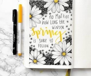 journal, bullet journal, and flowers image