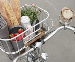 bike, vintage, and strawberries image