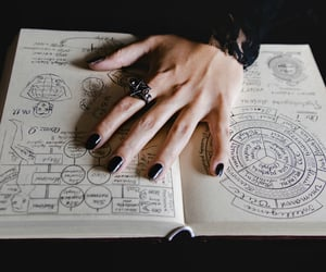 book, hand, and ring image