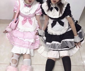 dress, maid, and pink image