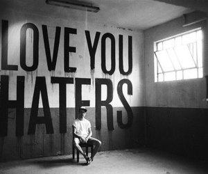 haters, black and white, and text image