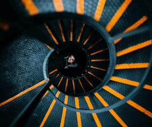 orange, descending, and staircase image