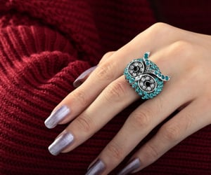 animal jewelry, vintage owl ring, and silver plated owl ring image