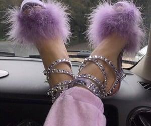 heels, purple, and rhinestones image