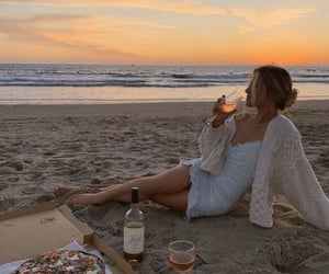 beach, ocean, and pizza image