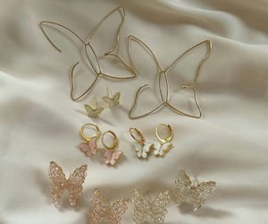 butterfly, earrings, and gold image