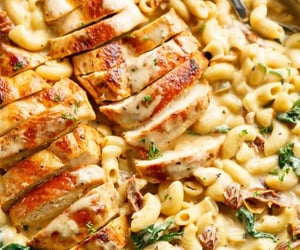 food, pasta, and cheesy image