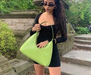 long dark hair, black bodysuit, and nature walk image