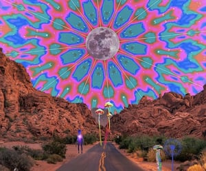 alien, moon, and psychedelic image
