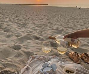 beach, wine, and sunset image