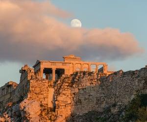 Athens, Greece, and moon image