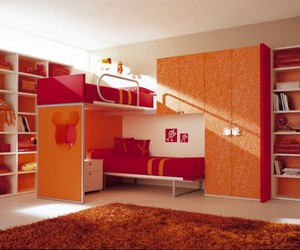 bedroom, interior design, and red image