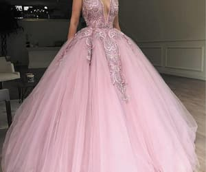 pink prom dress, ball gown prom dresses, and beaded prom dress image