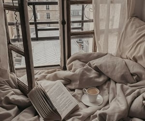 book, coffee, and bedroom image