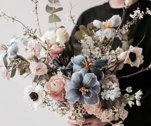 flowers, blue, and bouquet image