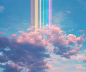 clouds, Dream, and rainbow image