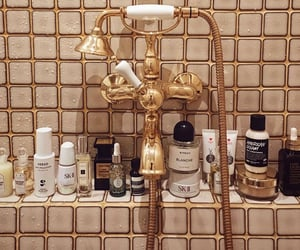 gold, bathroom, and bath image