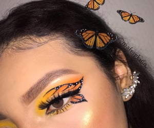 brown eyes, butterflies, and colorful image