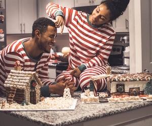 christmas, couple, and baking image