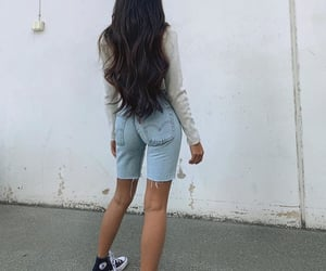 denim shorts, long sleeve, and long dark hair image