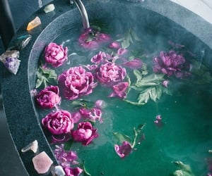 aesthetic, bath, and crystals image