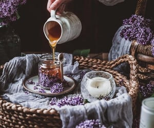 honey, candle, and flowers image