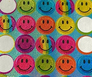 glitter, rainbow, and smiley face image