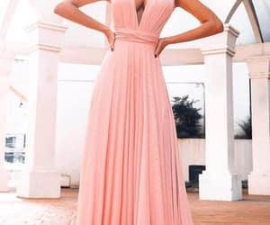 women fashion, pink prom dress, and chiffon prom dresses image
