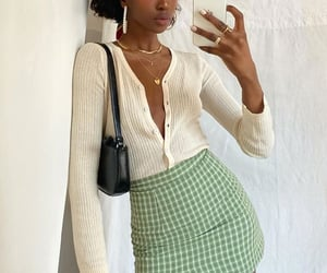 mini skirt, outfit inspiration inspo, and yellow white cardigan image