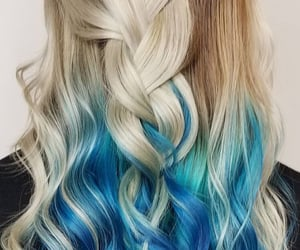 beige, blue, and braid image