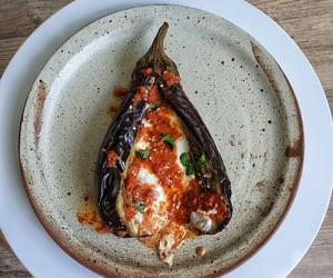 yoghurt, harissa, and roast aubergine image