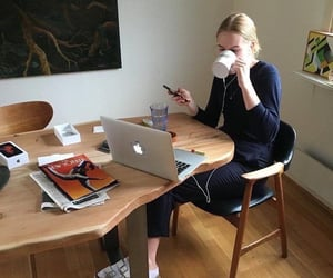 girl, school, and coffee image
