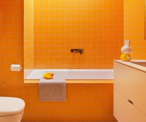 bathroom, home, and yellow image