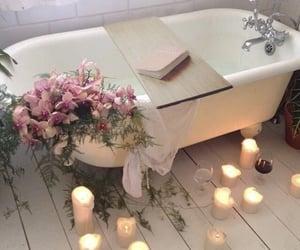 bathrub, candles, and bathtub image
