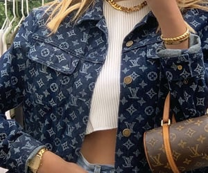 designer handbag, white crop top, and mirror selfie image