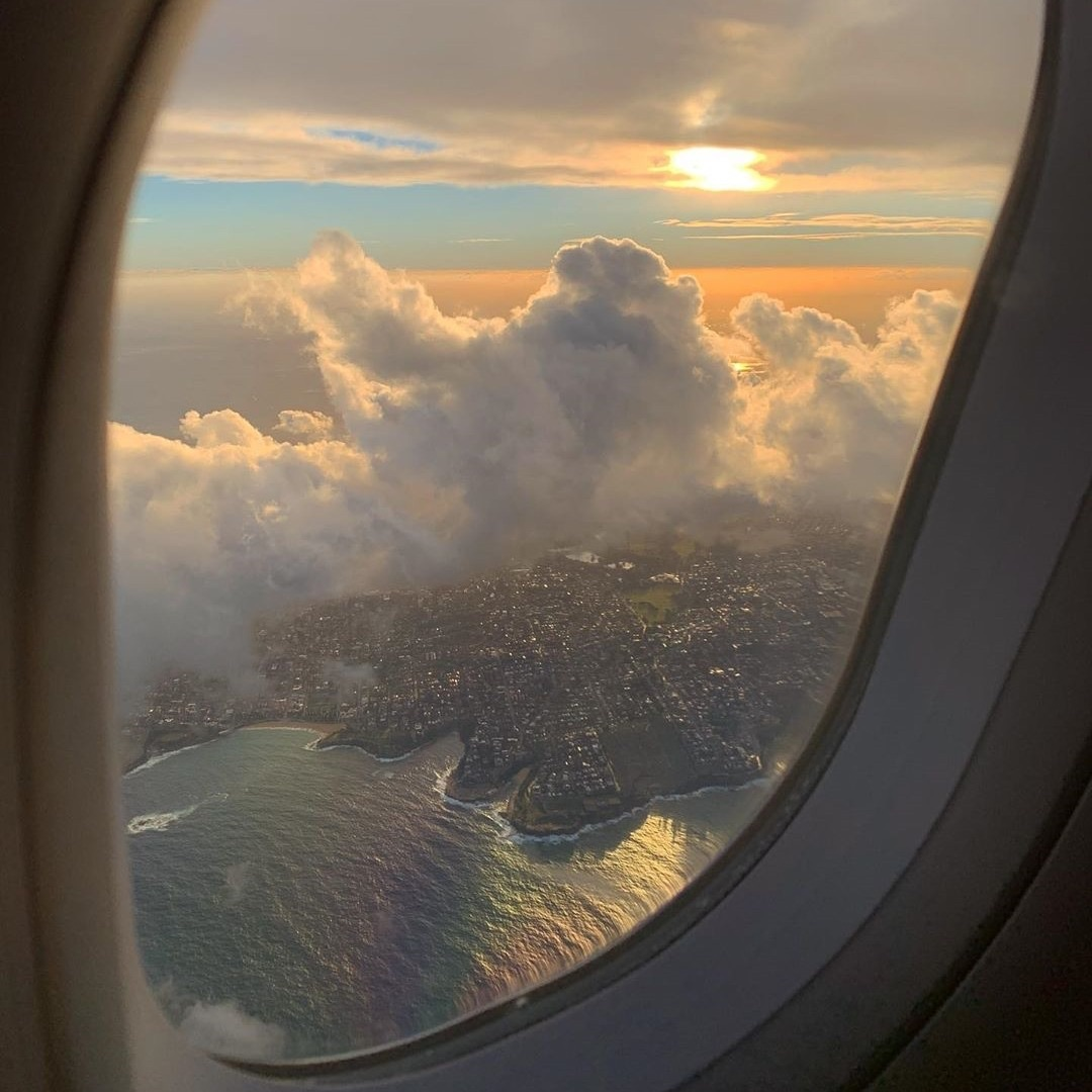 clouds, window, and flight image