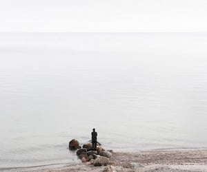 person, alone, and beach image