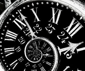 black and white, dark, and clock image