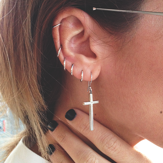 piercing, cross, and ear image