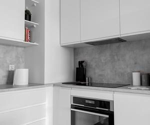 simple kitchen, white kitchen, and modern kitchen image