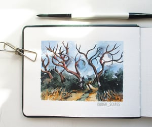 landscape, small painting, and watercolor painting image