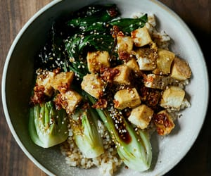 bok choy, chilli, and chinese food image