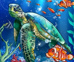 algae, coral reef, and turtle image