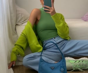 green cardigan, colourful outfit, and mirror selfie image