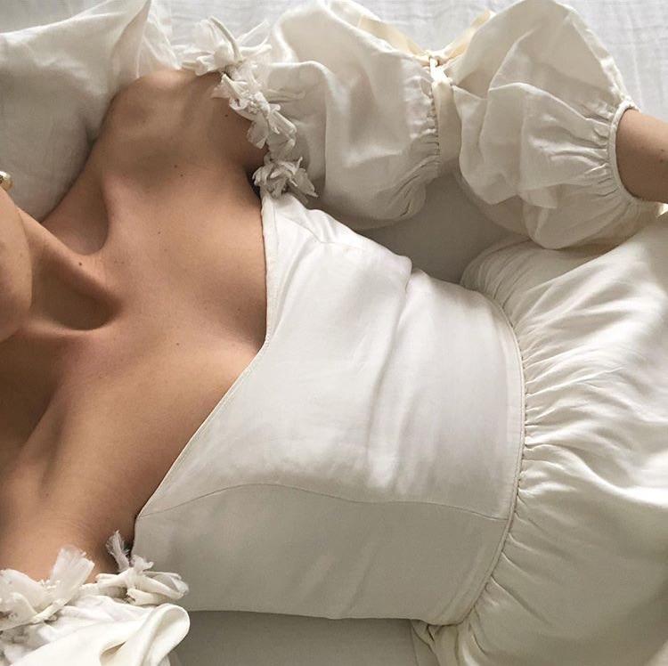 white dress, off shoulder dress, and ig model image