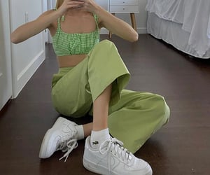 style, green outfit, and green crop top image