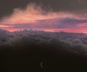 moon, sunset, and wallpaper image